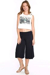 Fold Over Knit Gaucho Shorts Black L