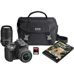 Nikon D5300 DX-format Digital SLR Kit w/ 18-55mm VR II and 55-300mm VR Lens Kit (Black)