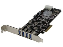 4 Port PCI Express (PCIe) SuperSpeed USB 3.0 Card Adapter w/ 4 Dedicated 5Gbps Channels – UASP – SATA / LP4 Power