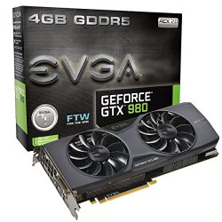 EVGA GTX980 FTW ACX 2.0 4GB GDDR5 256bit, DVI-I, DVI-D, DP, HDMI, SLI Ready Graphics Cards 04G-P4-2986-KR