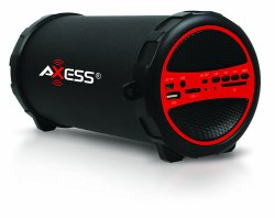 Axess SPBT1031-RD Portable Bluetooth Indoor/Outdoor 2.1 Hi-Fi Cylinder Loud Speaker with SD Card, USB, AUX and FM Inputs, 3″ Sub In Red Color