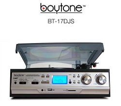 Boytone BT-17DJS 3-Speed Stereo Turntable Belt drive with 2 Built in Speakers + Remote Control