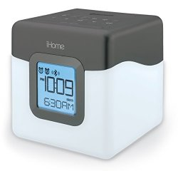 iHome iBT28GC Bluetooth Color Changing Dual Alarm Clock FM Radio with USB Charging