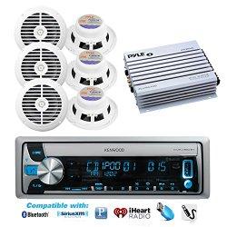 Kenwood Marine Boat Bluetooth CD USB MP3 Radio + 6 X White Enrock Speakers, 400W Amp