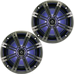 Kicker KM654LCW (41KM654LCW) 6.5 Inch 2-way Marine Speaker Pair with Built-In LED Lighting