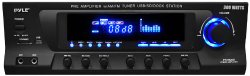 Pyle Home PT270AIU 300-Watt Stereo Receiver AM-FM Tuner, USB/SD, iPod Docking Station and Subwoofer Control