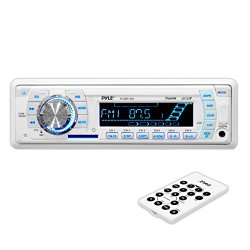 Pyle PLMR19W Stereo Radio Headunit Receiver, Aux (3.5mm) MP3 Input, USB Flash & SD Card Readers, Remote Control, Weatherband, Single DIN (White)