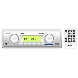 Pyle PLMR88W Stereo Radio Headunit Receiver, Aux (3.5mm) MP3 Input, USB Flash & SD Card Readers, Remote Control, Single DIN (White)