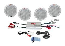 Pyle PLMRKT4A 4-Channel Waterproof MP3/iPod Amplified 6.5-Inch Marine Speaker System