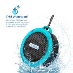 VicTsing® Wireless Bluetooth 3.0 Waterproof Outdoor / Shower Speaker, with 5W Speaker/Suction Cup/Mic/Hands-Free Speakerphone – Light Blue