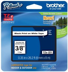 Brother Tape, Retail Packaging, 3/8 Inch, Black on White (TZe221) – Retail Packaging