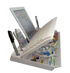 myKeyO Full Size Bluetooth 6-In-1 Keyboard, Stand and Organizer (mk1800-BT-white)