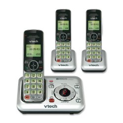VTech CS6429-3 DECT 6.0 Expandable Cordless Phone with Answering System and Caller ID/Call Waiting, Silver with 3 Handsets