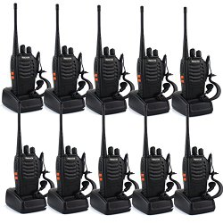 Retevis H-777 2 Way Radio Walkie Talkie Single Band UHF 400-470MHz 3W 16CH CTCSS/DCS VOX with Earpiece Flashlight (10 Pack)