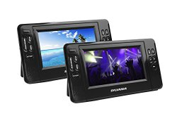 Sylvania 7-Inch Twin Mobile Dual Screen/Dual DVD Portable DVD Player – Play Same or Separate Movies