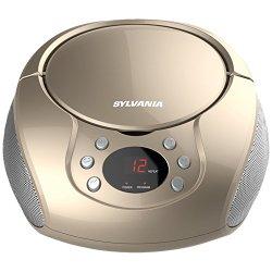 Sylvania Portable CD Boombox with AM/FM Radio (Champagne)