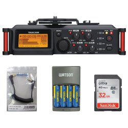 TASCAM DR-70D 4-Channel DSLR Audio Recorder Kit + 32GB SDHC Memory Card Ultra