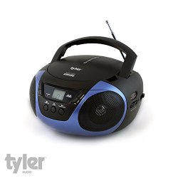 Tyler® Portable Sport Stereo CD Player with AM/FM Radio and Aux & Headphone Jack Line-In (Blue) TAU101-BL
