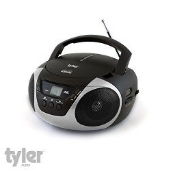 Tyler® Portable Sport Stereo CD Player with AM/FM Radio and Aux & Headphone Jack Line-In (Silver) TAU101-SL