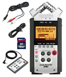 Zoom H4n Handy Mobile 4-Track Recorder – Bundle With 16GB Class 10 SDHC Card, Stereo 3.5mm Mini Phono Male to Two RCA Males Y-Cable 10′, SC35 3.5mm to 3.5mm Stereo Output Cable, Zoom RC-4 Remote Control for H4 Recorder