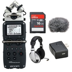 Zoom H5 Handy Recorder Kit with a Custom Windbuster, AD-17 AC Adapter, Closed-Back Stereo Headphones and a 16GB SDHC Memory Card Ultra