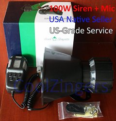 Cool Zingers 100 Watt Police Siren 5 Sound Emergency Vehicle Warning Speaker PA System Microphone 12v