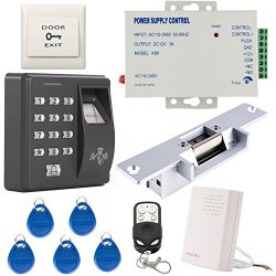 Generic Fingerprint RFID EM-ID Card Access Control System Kit With NO Strike Lock & Power Supply