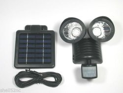 Motion Sensor Solar Security Spotlight 22 LED Dual Outdoor Flood Light – Black