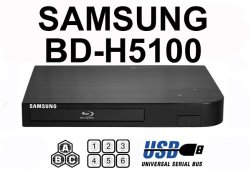"""NEW SAMSUNG BD-H5100 (Compact 12W"""" x 2H"""" x 8D"""") Multi Zone All Region Blu Ray DVD Player – 1 HDMI, 1 COAX, 1 ETHERNET CONNECTIONS + (6Feet HDMI Cable)"""