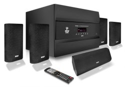 Pyle PT678HBA Bluetooth 5.1 Channel HDMI Home Theater System, 400 Watt, AM/FM Tuner, Subwoofer & Speakers
