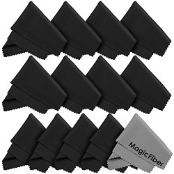 (13 Pack) MagicFiber® Premium Microfiber Cleaning Cloths – For Tablet, Cell Phone, Laptop, LCD TV Screens and Any Other Delicate Surface (12 Black, 1 Grey)