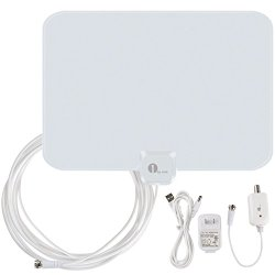 1byone OUS00-0562 Amplified HDTV Antenna 50 Miles Range with USB Power Supply and 20 Feet Coaxial Cable – White/Black