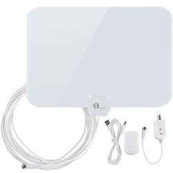 1byone Shiny Antenna Super Thin Amplified HDTV Antenna 50 Miles Range with Detachable Amplifier Booster USB Power Supply to Boost Signal and 20ft Coaxial Cable