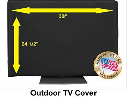 38″ Outdoor TV Cover Black (Soft Non Scratch Interior fits 36″,37″-some 40″,42″)