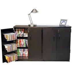 4 Door Locking Double Multi-Media Cabinet (Black)
