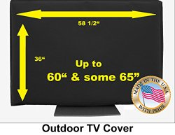 60″ Outdoor TV Cover Black (Soft Non Scratch Interior fits 60″- some 65″)