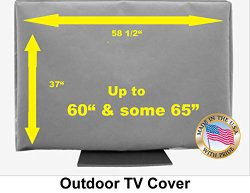 60″ Outdoor TV Cover *Top Premium Quality* Weather Resistant* Soft Non Scratch Interior* Made In USA* (Televisions up to 65″+)