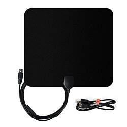 Amplified HDTV Antenna 50 Miles Range, Souldio™ Ultra Thin Indoor HDTV Antenna 50 Miles with Undetachable Amplifier Singnal Booster, 13ft High Performance Coaxial Cable(Black/White)