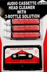 Audio Tape Cassette Head Cleaner w/ 3 Cleaning Fluids Care Wet Maintenance Kit