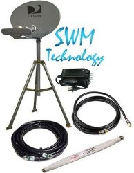 DIRECTV 5LNB SLIMLINE DISH KAKU SL5 SWM & POWER HD RV 3″ TRIPOD TAILGATING KIT
