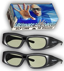 DLP LINK 144 Hz Ultra-Clear HD 2 PACK 3D Active Rechargeable Shutter Glasses
