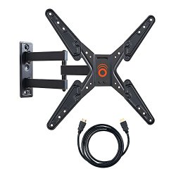ECHOGEAR Full Motion Articulating TV Wall Mount Bracket for 26-50″ LED, LCD, OLED and Plasma Flat Screen TVs with VESA patterns up to 400 x 400 – Includes 6′ HDMI Cable – EGMF1-BK