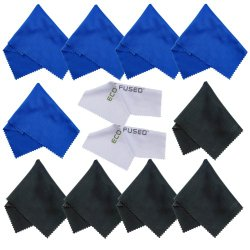 Eco-Fused 12 Piece Pack of Microfiber Cleaning Cloths for use with Cell Phone, Tablets, Laptops, Glasses, Lenses and Other Delicate Surfaces – One Year Guarantee (blue / black)