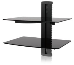 Ematic EMD212 2 Shelf Component Wall Mount Kit with Cable Management for DVD Players, DVRs and Gaming Systems