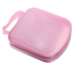 Foxnovo Portable Clear Plastic 40 Cd DVD VCD Disc Holder Storage Box Bag Wallet Case Protector Organizer (Pink)