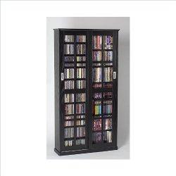Leslie Dame MS-700B Sliding Glass Mission Style Door CD Storage Cabinet, Black