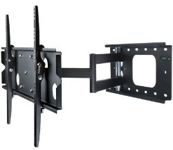 Mount-It! MI-326B Low-Profile Swivel Full Motion Articulating Tilting TV Wall Mount Corner Bracket for 32 – 60 inch Screen LCD, Black
