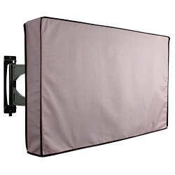 """Outdoor TV Cover, Grey Weatherproof Universal Protector for 36"""" – 38"""" LCD, LED, Plasma Television Sets – Compatible with Standard Mounts and Stands. Built In Remote Controller Storage Pocket"""