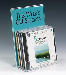 Set of 10, Clear Acrylic CD Holder with Sign Frame for Tabletop, Single Tier Rack for Storing 5 CDs