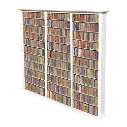 Spartak Bookcase Media Tower – Tall Triple 2413WHITE (White) (76″H x 76″W x 9.5″D)